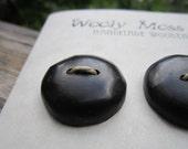 6 Black Wood Buttons in reclaimed Ebony