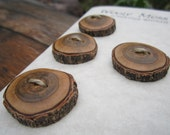 7 Wood Buttons- in Reclaimed Sassafras Wood- Knitting, Sewing, Craft Buttons
