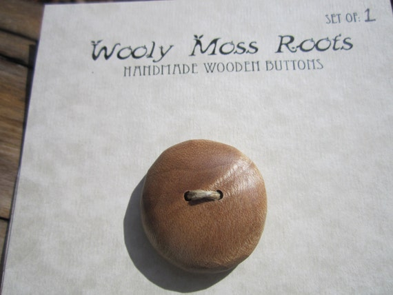 Maple Wood Button- Reclaimed Birdseye Maple Burl Wood- Knitting, Sewing, Craft Buttons