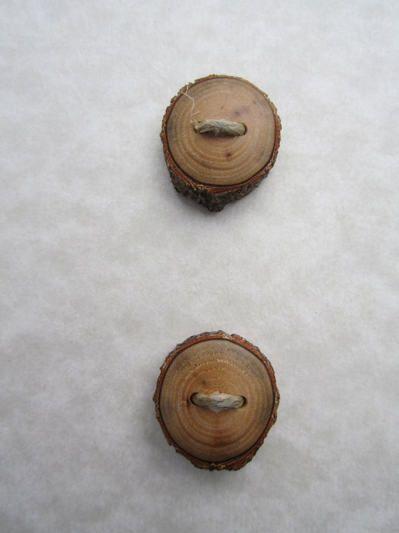 Reserved- 2 Tiny Wood Buttons- Sassafras Wood- Reclaimed Wood Buttons