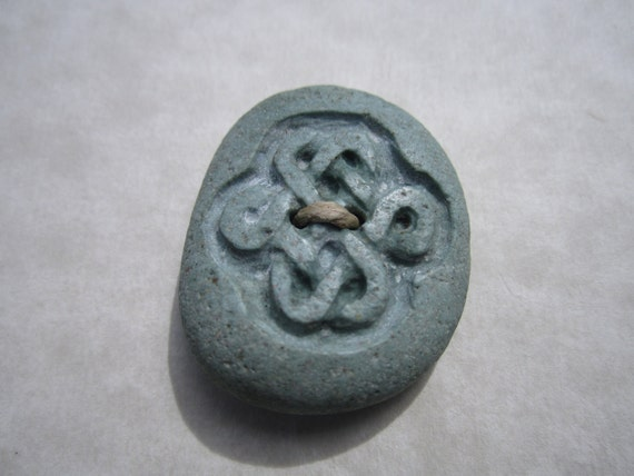 Carved Beach Stone Button- Carved Love Knot Button- Celtic Knot Button
