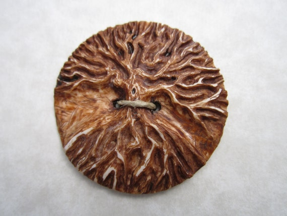 Carved Tree Button in Antique Ivory- Handmade Button