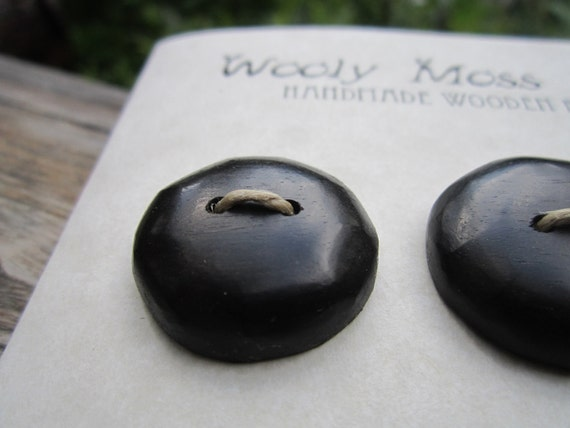 6 Black Wood Buttons in reclaimed Ebony