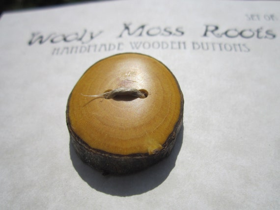 3 Yellow Wood Buttons in reclaimed Buckthorn