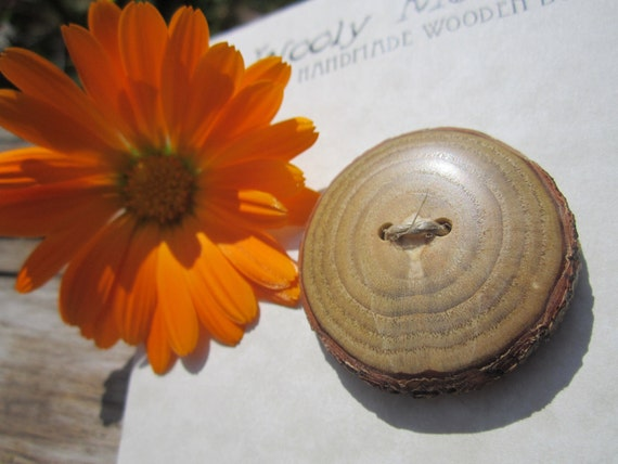 Wood Button- in Reclaimed Sassafras Wood- Knitting, Sewing, Craft Buttons