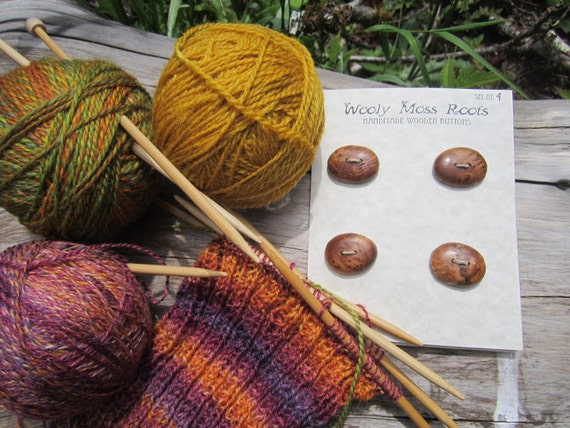 4 Maple Burl Wood Buttons-Handmade Wooden Buttons in Reclaimed Maple- Knitting, Sewing, Craft Buttons