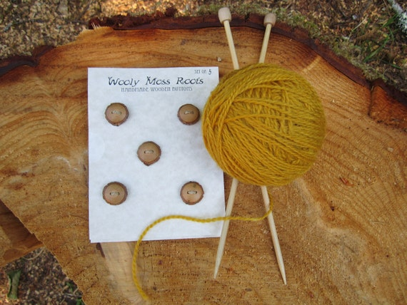 5 Wood Buttons- Tiny Handmade Wooden Buttons- in reclaimed Sassafras Wood