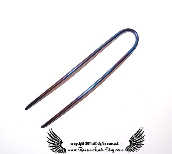 5 Inch Anodized Titanium Metal of the Gods Hair Fork, Bespoke Hair Fork