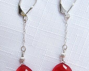 Magenta Crystal Rounded Teardrop Earrings