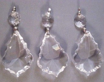 5 French Chandelier Crystal Prism Pendalogues - 50mm 2 Part - FULL LEAD Crystal (S-2)