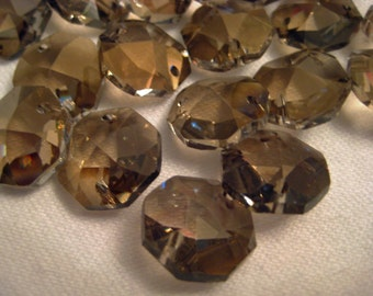 50 - 14mm Honey Crystal Chandelier Prism Bead Jewelry Connectors - 2-Hole - FULL LEAD Crystal (S-1)
