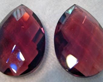 2 Purple Amethyst Crystal Chandelier Prism Ornaments - 50mm - SET of 2
