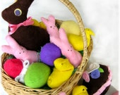 The Easter Collection felt food pattern PDF, marshmallow chicks, chocolate Easter bunny, Easter eggs, frosted chocolate egg
