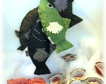 Felt Food PDF Pattern Gulf Coast Catch Fish, Shrimp and Clams