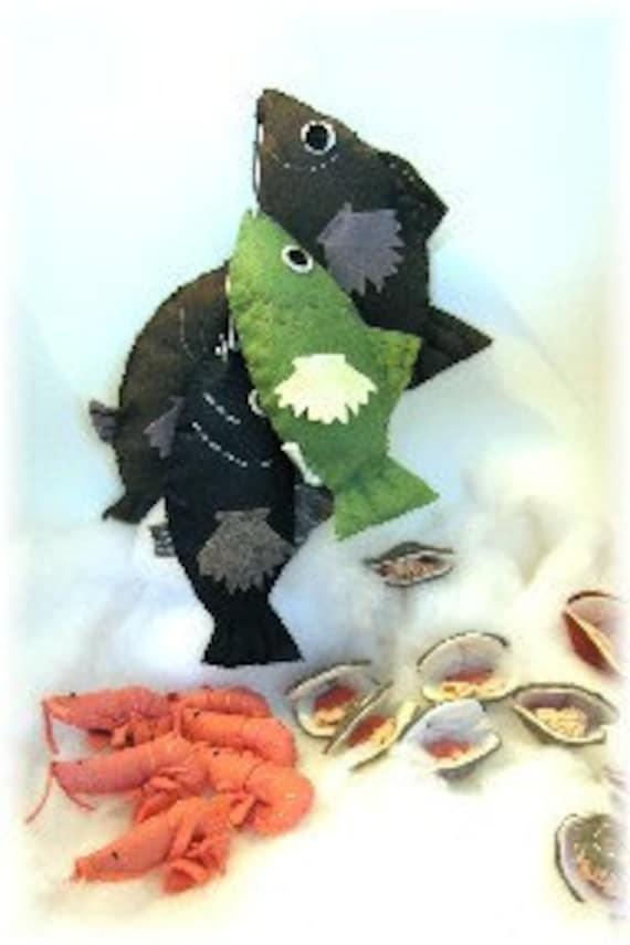 Felt Food PDF Pattern Gulf Coast Catch Fish, Shrimp and Clams