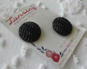 Vintage buttons - 2 Black Jet swirl round 1 1/8 inch