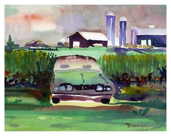 Resting In Cornfields - Watercolor Print