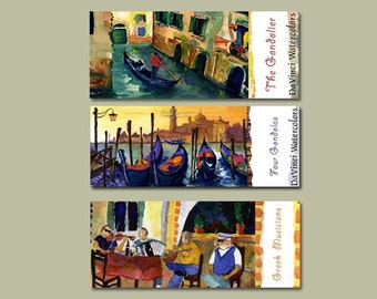 Tour of Italy - 3 bookmarks | Italy Watercolors | Gift Ideas | Italian Landscapes