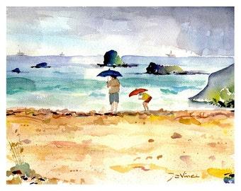 PINK SAND RAIN - Bermuda in Spring --- Watercolor Print