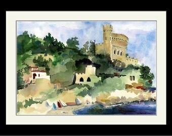Seascape Watercolor Print   Costa Brava Spain   Wall Art, Castles Watercolor, Balearic Sea, Catalonia, House Warming Gift, Watercolor Art