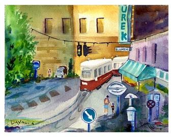 Trolley In Vienna - Watercolor Print