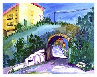 MAIDA - Calabria, Italy - Watercolor print, Italian Landscape, Wall Art Home Decor, Travel Gift, Southern Italy, Italian Scenery Art