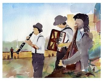 Prague Funfair Orchestra, Czech Republic Abstract Watercolor Art Print, Home Decor Art, Travel Gifts,