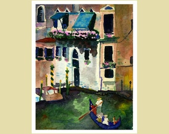 Italy Art Print, Venice Canals Watercolor Print,  Italy Art Home Decor 8x10 Landscape Painting, Italy Painting, Housewarming Gift, Italian