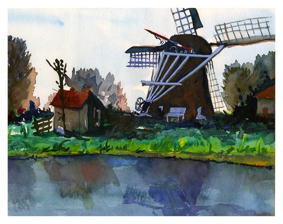 "SALE! - ""Wind &  Water"" - Holland - Watercolor Print"
