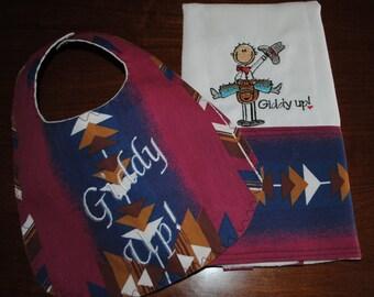 Baby Boy Cowboy Applique Burp Cloth and Bib Set READY TO SHIP