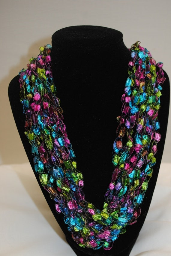 Crocheted Ladder Trellis Yarn Necklace Stained Glass