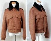 VINTAGE: 1970s Harris Tweed Jacket wool reddish brown black faux fur collar mens/womens