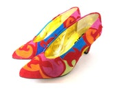 VINTAGE: ZALO  Suede applique multi coloured, red, yellow, purple, blue, orange, green heeled shoes