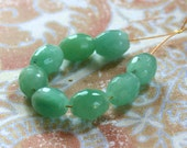 Green Aventurine 10x 8mm faceted barrel  Beads Destash 8 pieces
