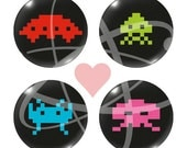 SPACE INVADERS Magnet (or Pinback Button) Gift Pack