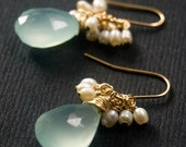 RESERVED for amandakohr  - LESLIE - 3 Pairs of Blue Chalcedony and Pearls on Gold
