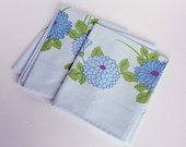 Pillowcase Set Retro Mod Vintage Hanae Mori Blue Floral Dahlias
