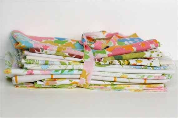 """Vintage sheet 18"""" x 18"""" fabric stack of 13"""