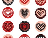 Lace Hearts Collection 2 inch Circles for Valentine's Day, cupcake toppers, cards, stationary, invitations, scrapbooking