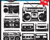 Boombox and Mix Tapes 80s Clip Art Elements Digital Collage Sheet for iron on transfer, fabric transfer, cards, stationary, invitations,