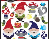 Garden Gnome Collection Clip Art Clipart Elements Collage Sheet for cards, birthday themes, stationary, invitations, scrapbooking