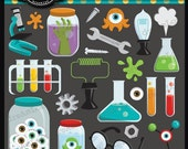 Monster Science Laboratory Clipart Elements Collage Sheet for cards, stationary, invitations, scrapbooking and all paper crafts