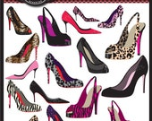 Designer Shoe Clip Art Elements great for graphic designers, invitations, packaging, logo, and branding, commercial use