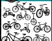 Bicycle Silhouettes Clip Art Elements for cards, cameos, screen printing, image transfers, stationary, stencilling, for commercial use.
