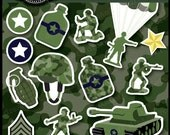 Little Green Army Men Clipart Set for boys party themes, invitations, stationary and more