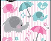 Baby Elephant Collection Clip Art for cards, stationary, invitations, baby showers, and party themes