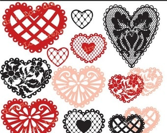 Lace Hearts Collection Clipart Elements Collage Sheet for valentine's day, cards, stationary, invitations, scrapbooking