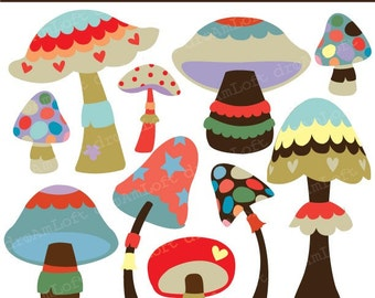 Magnificent Mushroom Collection Clipart Elements Collage Sheet for cards, stationary, invitations, scrapbooking and all paper crafts