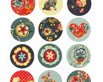 Floral Woodland Collection 2 inch Round Circles for stickers, cupcake toppers, cards, stationary, invitations