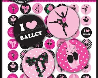 Ballerina Rose Digital Collage Sheet 1 x 1 inch Circles